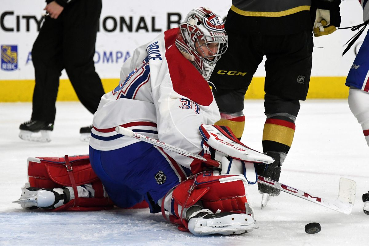 Carey price making a save against the golden knights. Habs in 5