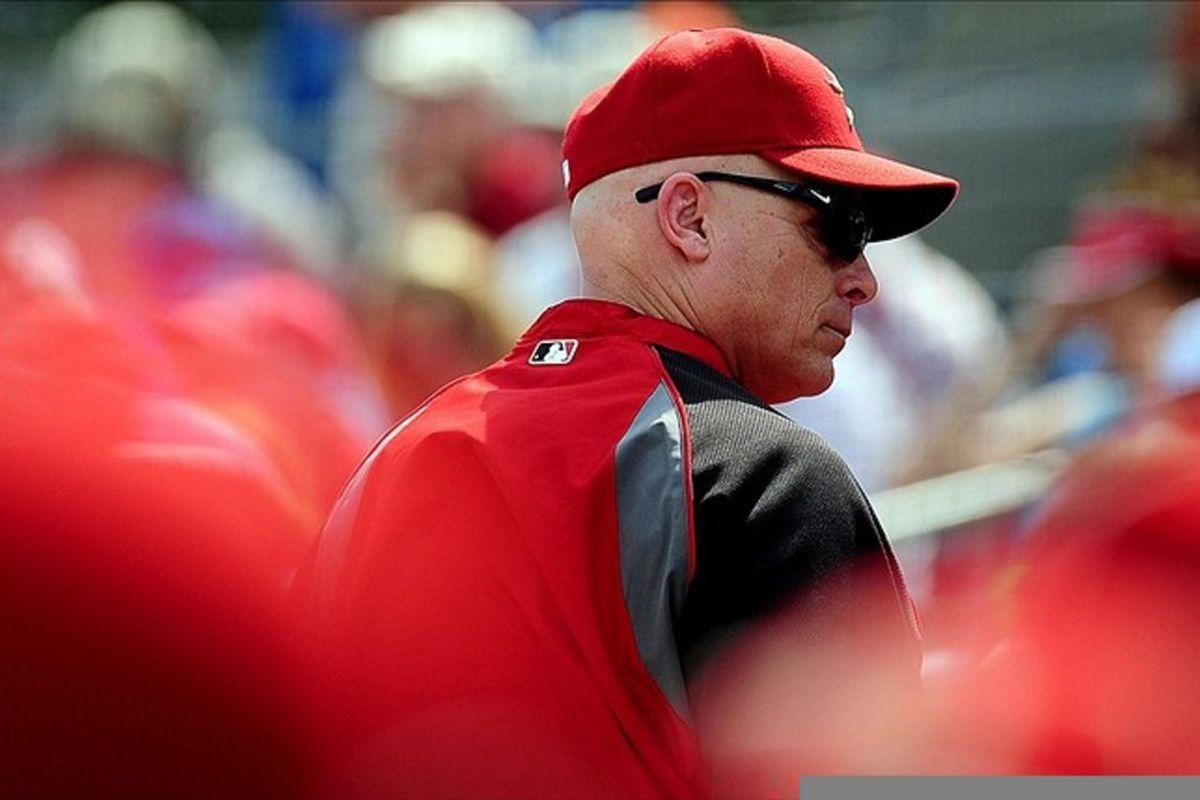 Mar. 3, 2012; Kissimmee, FL, USA; Houston Astros manager Brad Mills against the Houston Astros at Osceola County Stadium. Mandatory Credit: Andrew Weber-US PRESSWIRE