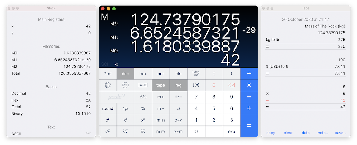 Screenshot showing three PCalc windows. In the center is a calculator with advanced functions visible.
