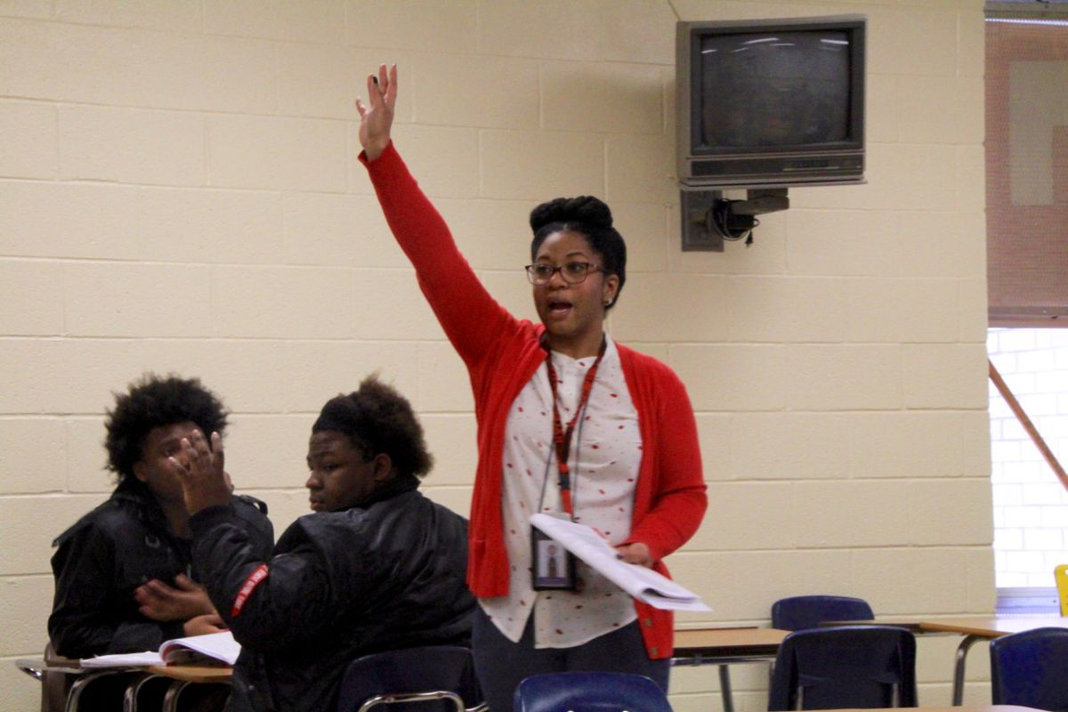 Candous Brown teaches one of her 12th-grade English classes at Raleigh-Egypt High School. Brown has been teaching in Memphis for 10 years.