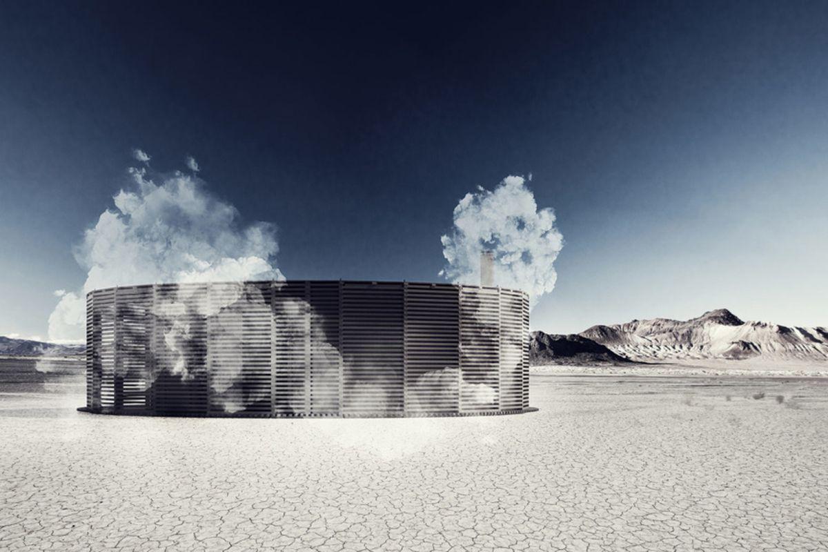 Rendering of sauna in desert.