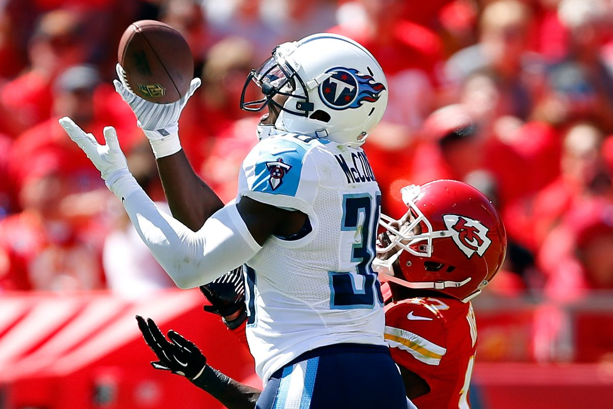 Jason McCourty with one of his two interceptions Sunday.