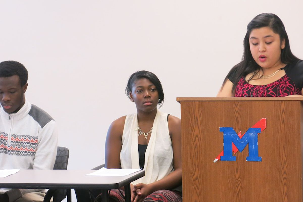 Students at Manual gave speeches about Ferguson to an audience that included police officers and elected officials.