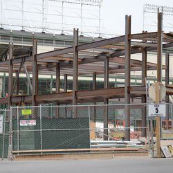 5:09 p.m. Another view of the triangle lot structure, seen from Clark and Waveland -