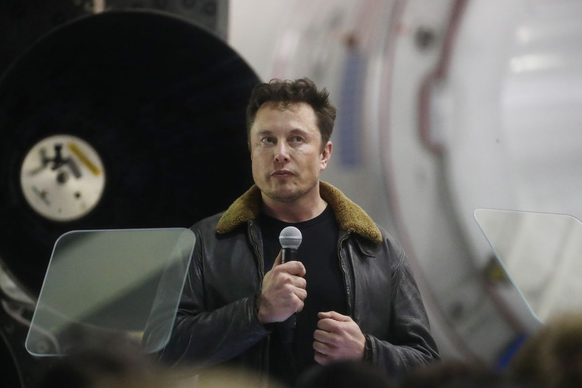 Elon Musk at a SpaceX press conference in September 2018.