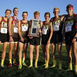 Cedar High School places second in the 4A state boys high school cross-country championship in Cedar City on Wednesday, Oct. 21, 2020.