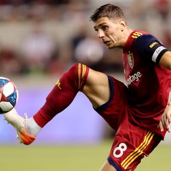 Real Salt Lake midfielder Damir Kreilach (8) works to gain control of the ball as RSL and Seattle Sounders play at Rio Tinto Stadium in Sandy Utah on Wednesday, Aug. 14, 2019. RSL won 3-0.