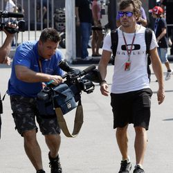 Ferrari driver Fernando Alonso of Spain arrives at the Monza Formula One circuit, in Monza, Italy, Thursday, Sept. 6, 2012. The Formula One race will be held on Sunday.