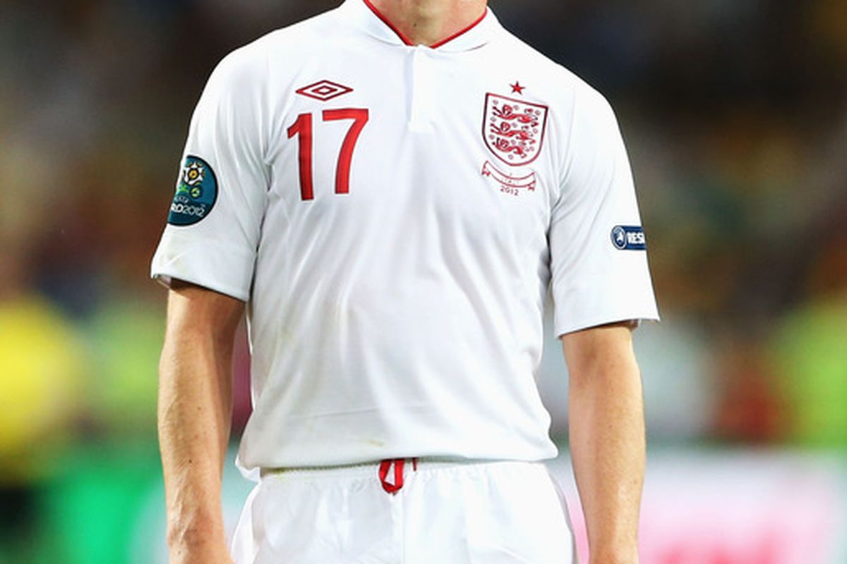 KIEV, UKRAINE - JUNE 24: Scott Parker of England reacts during the UEFA EURO 2012 quarter final match between England and Italy at The Olympic Stadium on June 24, 2012 in Kiev, Ukraine.  (Photo by Scott Heavey/Getty Images)