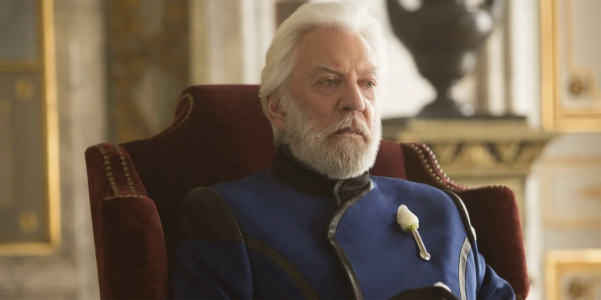 donald sutherland as president coriolanus snow in the hunger games film series
