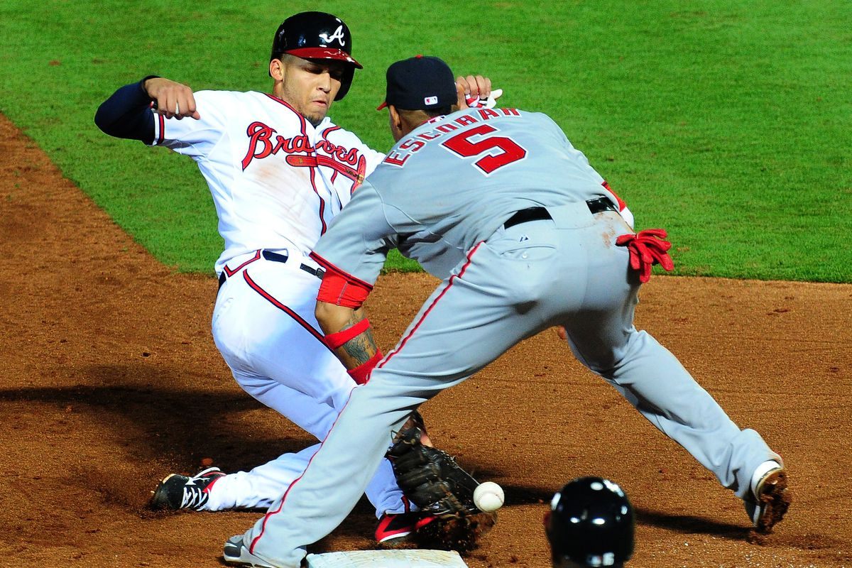 Andrelton Simmons slid violently into third base in the fifth inning of Monday's 8-4 loss to the Braves. Based on the postgame chatter, this was all that happened... not another dismal effort on the field.