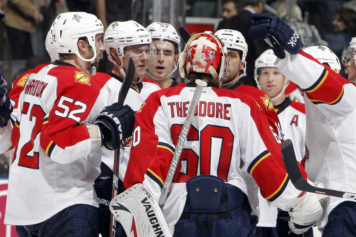 TORONTO, CANADA - NOVEMBER 8: Jose Theodore #60 of the Florida Panthers celebrates the win against the Toronto Maple Leafs during NHL action at The Air Canada Centre November 8, 2011 in Toronto, Ontario, Canada. (Photo by Abelimages/Getty Images)