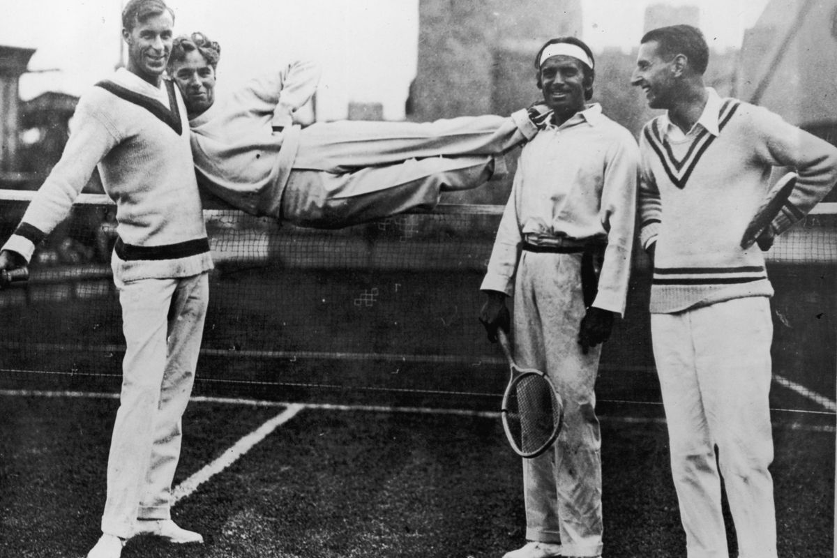 From left, Bill Tilden, actors Charlie Chaplin and Douglas Fairbanks Sr. and Spanish tennis player Manuel Alonso in 1923.