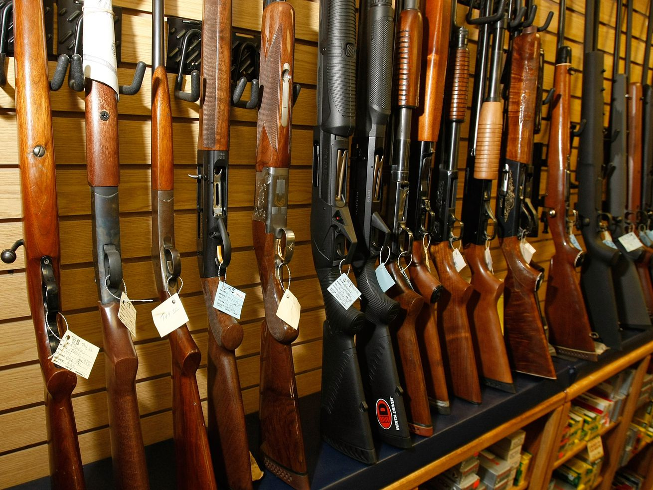 Guns for sale are displayed at The Gun Store in 2008 in Las Vegas, Nevada.