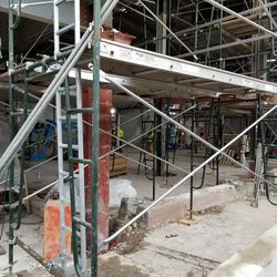 Closer view of concourse underneath scaffolding