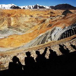 Members of the media view the slide during a tour of Kennecott's Bingham Canyon Mine on Thursday, April 25, 2013.