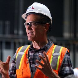 Mark Dietlein, president, CEO, executive producer and marketing director of the Hale Centre Theatre, leads a tour of the soon-to-be-completed theatre in Sandy on Wednesday, Aug. 9, 2017.