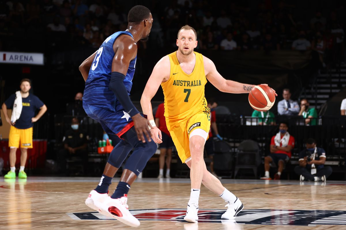 Joe Ingles of the Australia Men's National Team dribbles the ball during the game against the USA Men's National Team on July 12, 2021 at Michelob ULTRA Arena in Las Vegas, Nevada.