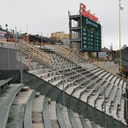 11:27 a.m. The still-closed right-field bleachers, with some benches now installed -