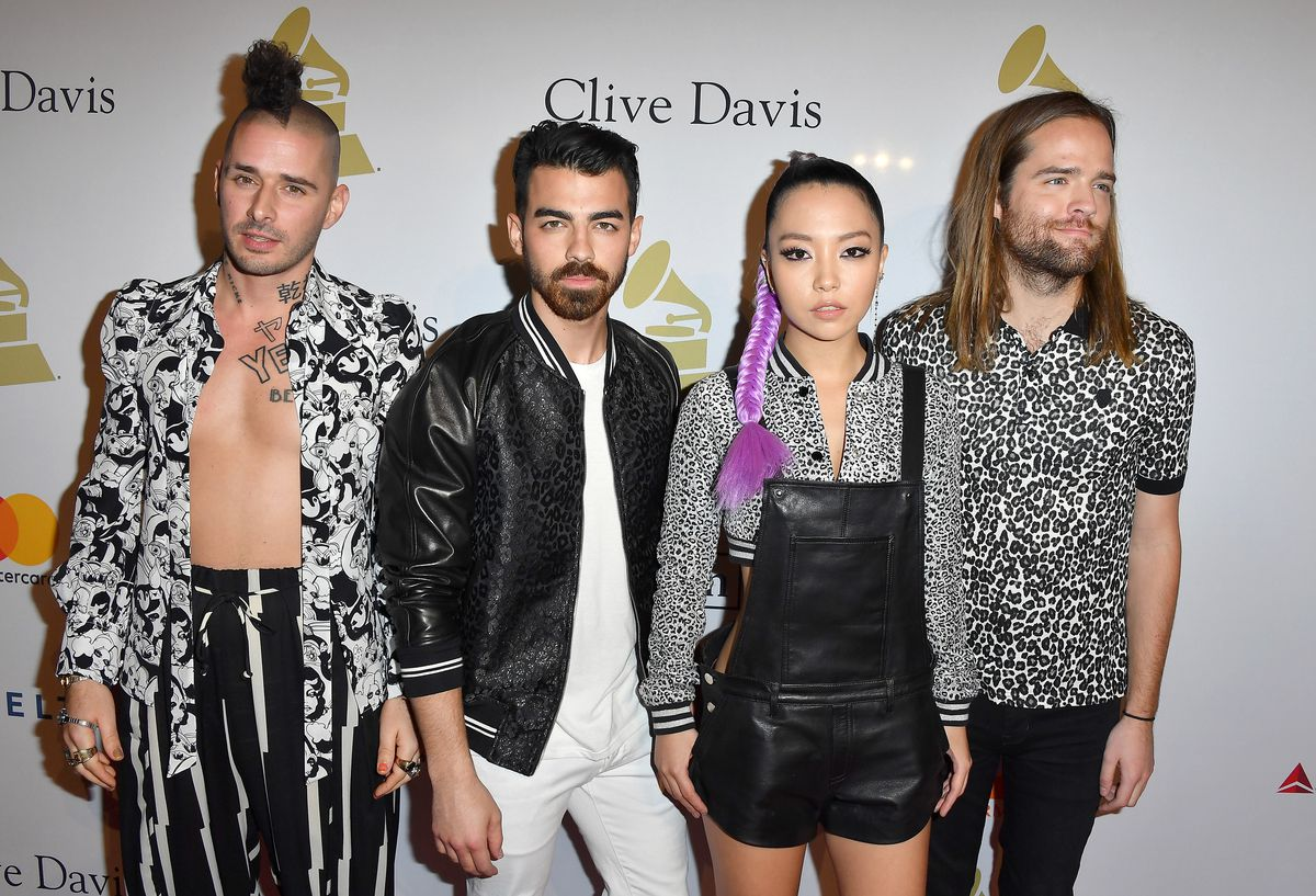 Coordinating with his DNCE bandmates at a pre-Grammy gala last month.