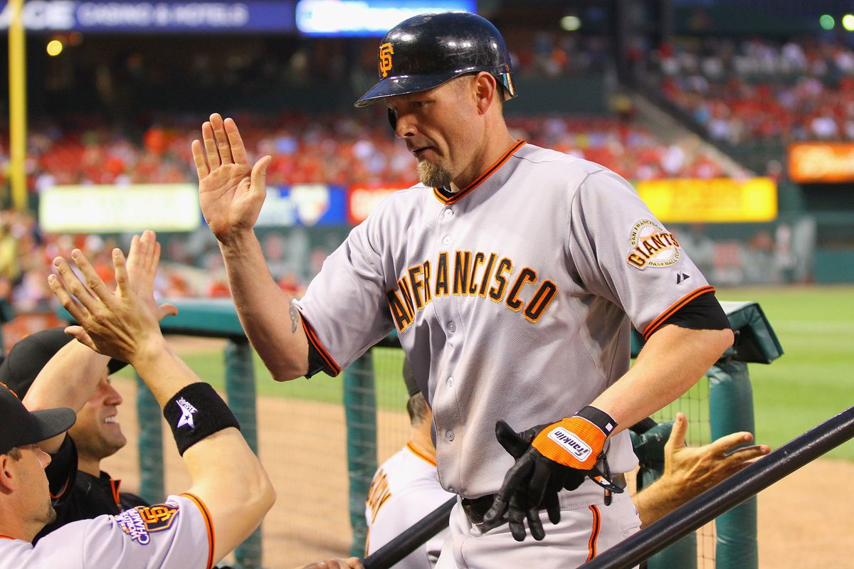 The Giants said they would not invite Aubrey Huff to the team's 2010 World Series reunion.