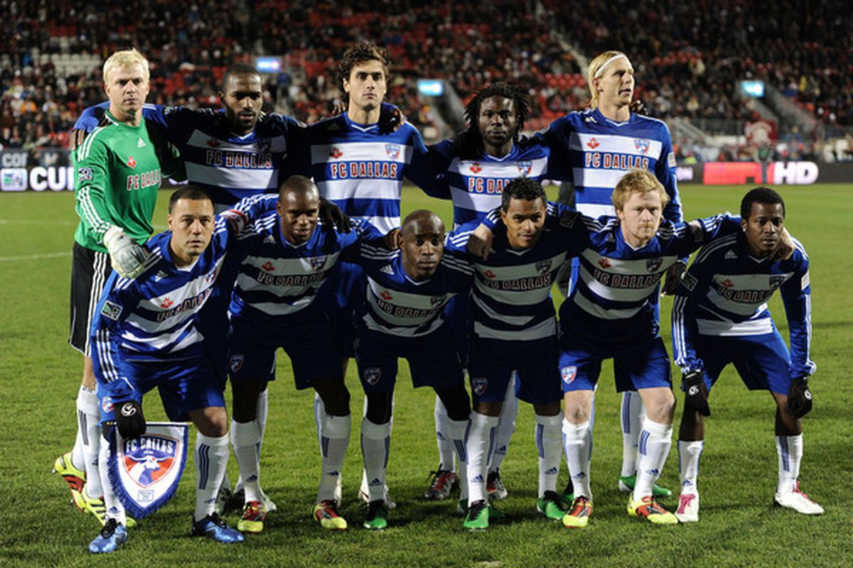 TORONTO ON - NOVEMBER 21:  The team of FC Dallas pose for a picture before playing against the Colorado Rapids during the 2010 MLS Cup match at BMO Field on November 21 2010 in Toronto Canada.  (Photo by Harry How/Getty Images)