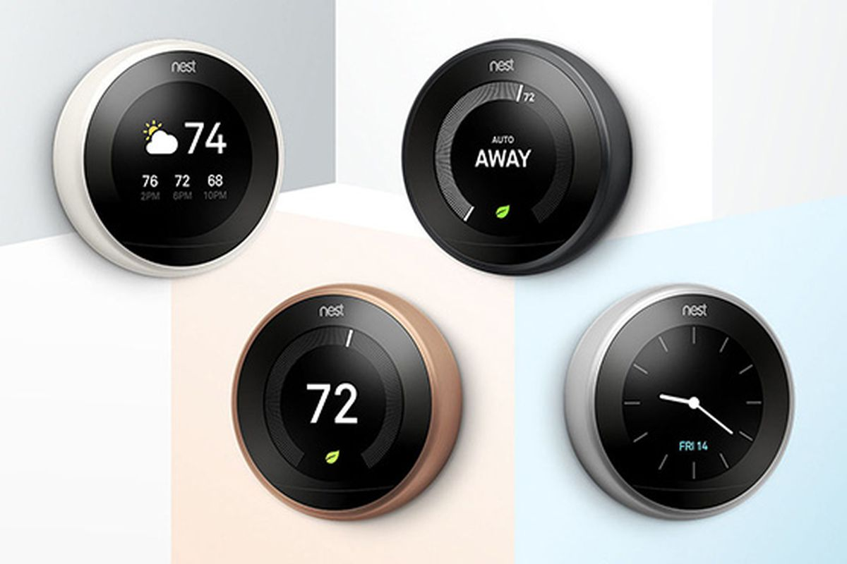nest 39 s learning thermostat now comes in white black and. Black Bedroom Furniture Sets. Home Design Ideas