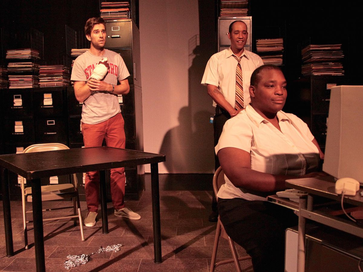 """Justin Liszanckie, Eric Reid and Daria Johnson in """"Don't Be Evil"""""""