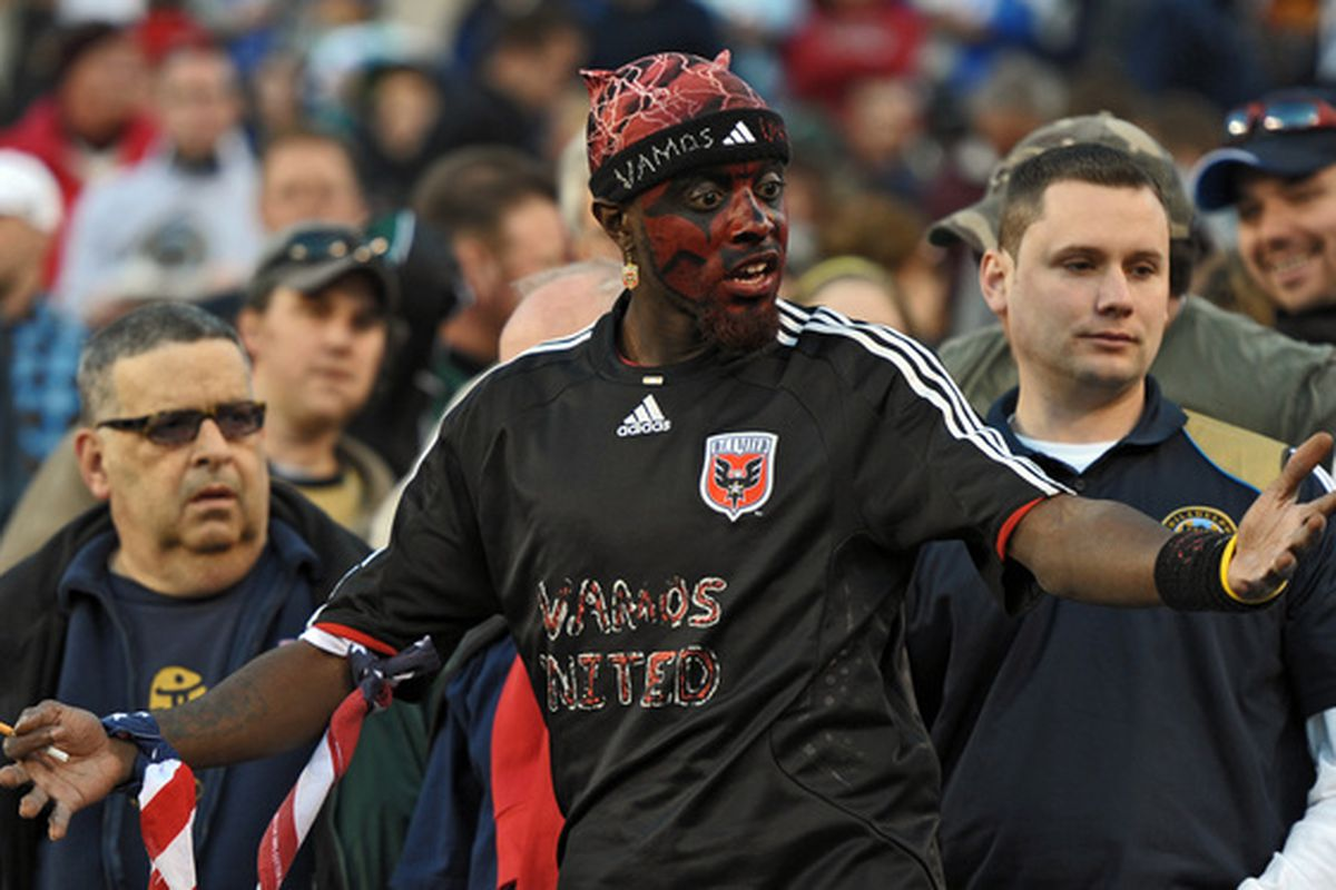 PHILADELPHIA - April 10: A D.C. United fan reacts during the game against the Philadelphia Union on April 10, 2010 at Lincoln Financial Field in Philadelphia, Pennsylvania. The Union won 3-2. (Photo by Drew Hallowell/Getty Images)