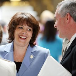 Becky Lockhart, the first woman to serve as Utah House speaker, died at her home Saturday, Jan. 17, 2015, from an unrecoverable and extremely rare neurodegenerative brain disease. Lockhart, pictured in 2012 with Ray Child from Comcast, was 46.