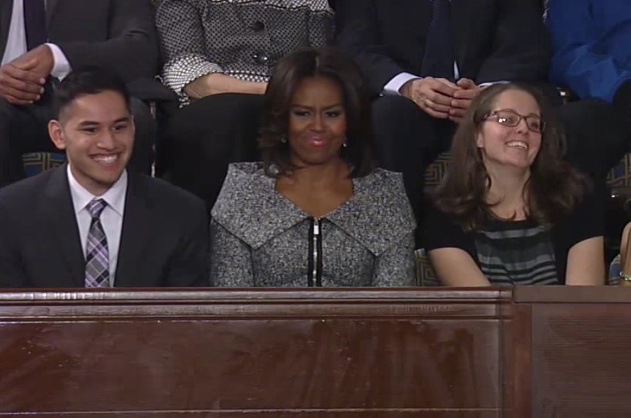 Anthony Mendez, left, appears with First Lady Michelle Obama at the State of the Union in 2015.