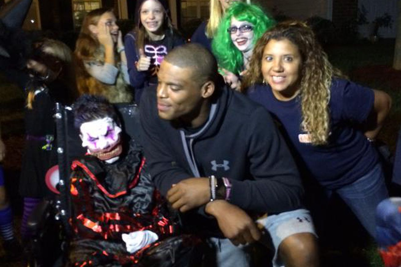 Cam Newton heard about an early Halloween party for a boy with ...