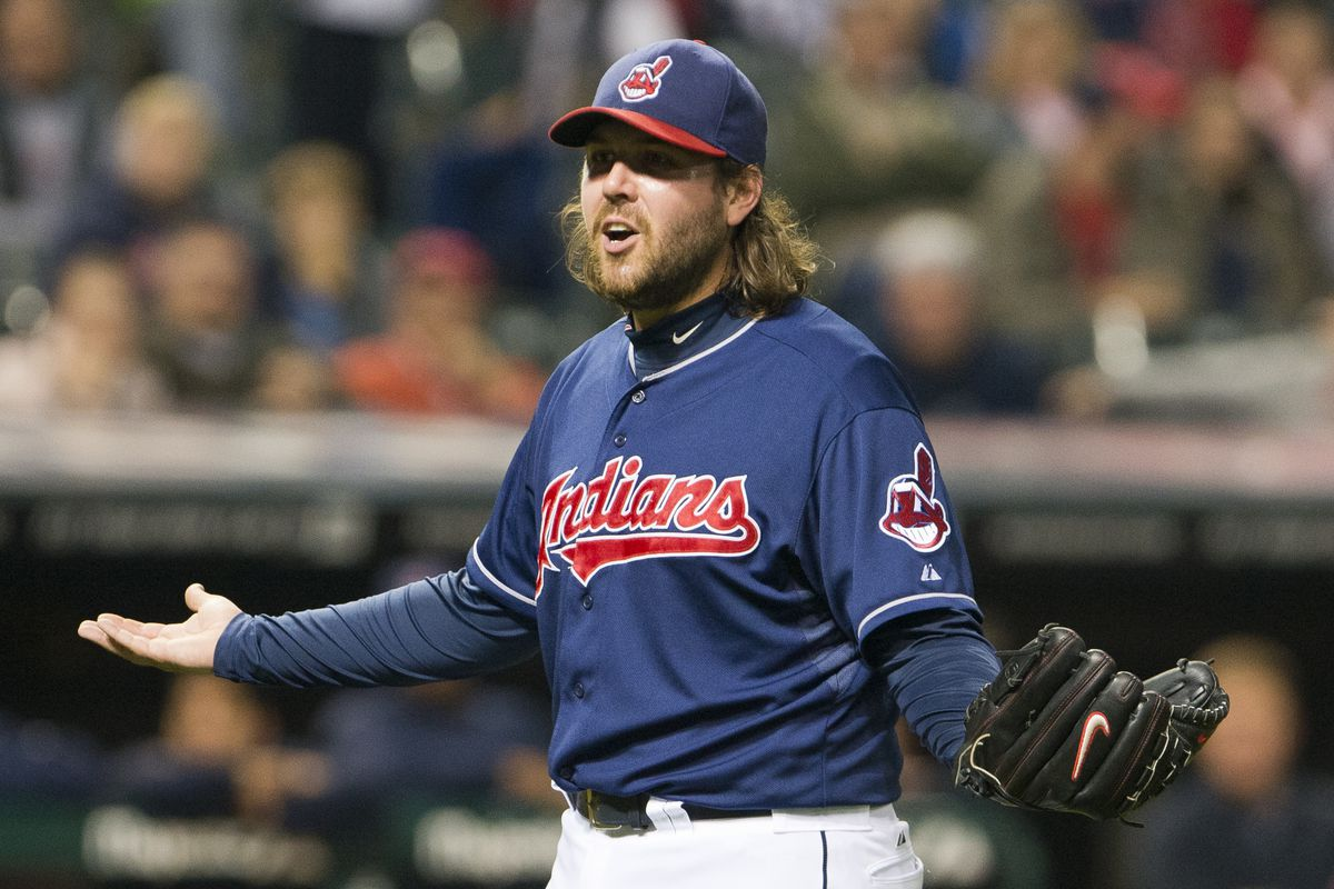 Chris Perez is dumbfounded that hitting Tyler Flowers caused both injury AND lets him take first base