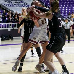Cedar's guard Mayci Torgerson (23) battles for the basket against Pine View during the 4A girls championship basketball game at the Dee Events Center in Ogden on Saturday, Feb. 29, 2020.