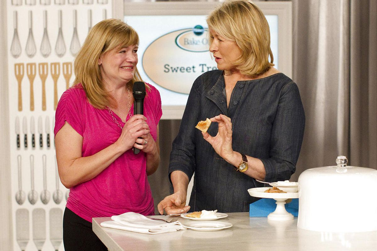 """Christina Verrelli of Devon, Pa. talks with Martha Stewart about her recipe for  Pumpkin Ravioli with Salted Caramel Whipped Cream after it was named the """"Sweet Treats"""" category winner at the 45th Pillsbury Bake-Off Contest, Tuesday, March 27, 2012 in Orl"""