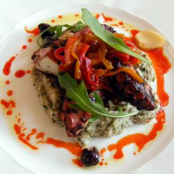 """Grilled Mediterranean octopus with smoky eggplant and piperade from Lafayette by <a href=""""http://www.flickr.com/photos/37619222@N04/8656784297/in/pool-eater/"""">The Food Doc</a>"""