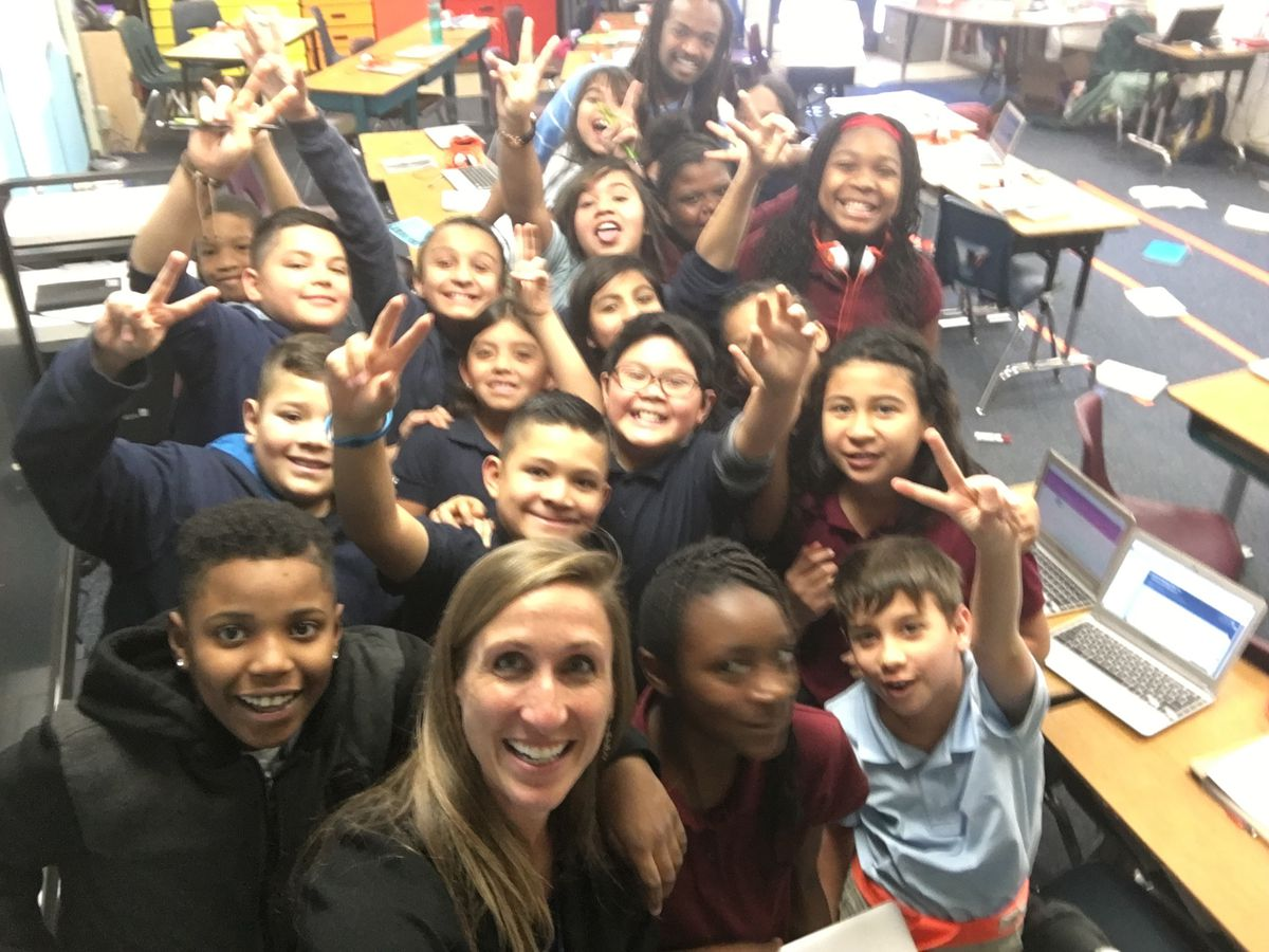 Goodall with a fifth grade class that won one of McGlone's character awards.