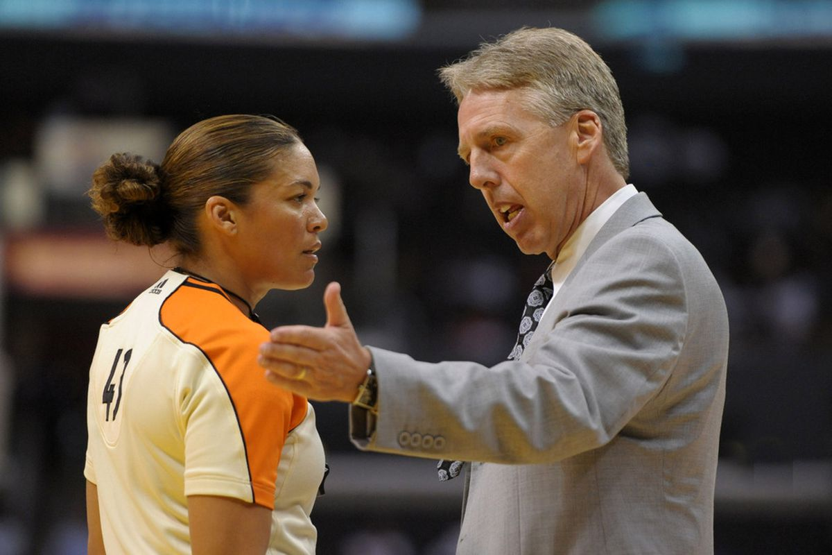 Brenda Pantoja during a WNBA game, she also has officiated in the D-League.