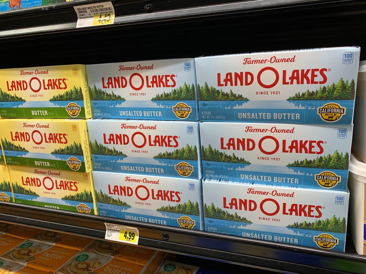 Land O Lakes butter on store shelves.