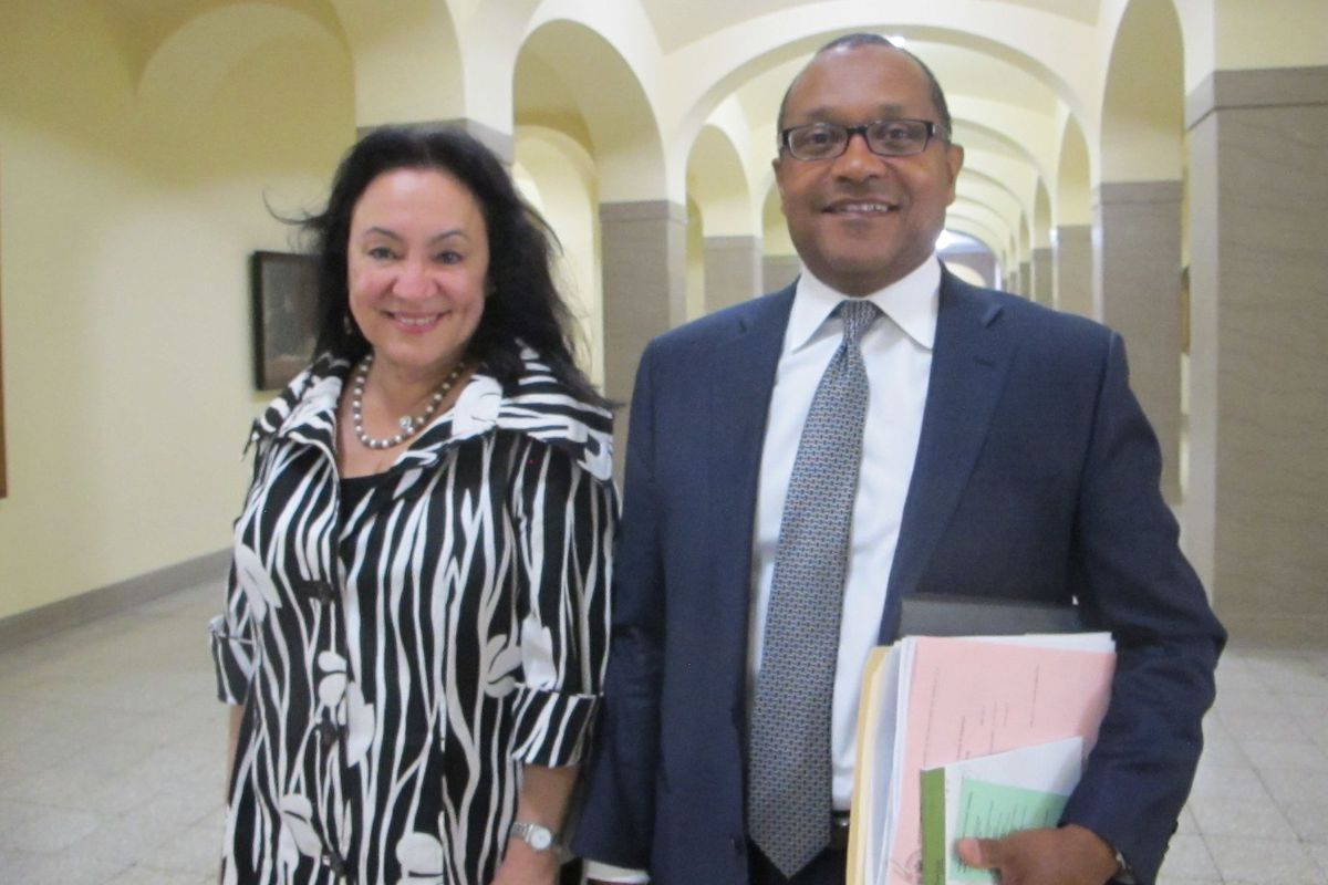 Chancellor Rosa and Vice Chancellor Brown attend a Board of Regents meeting.