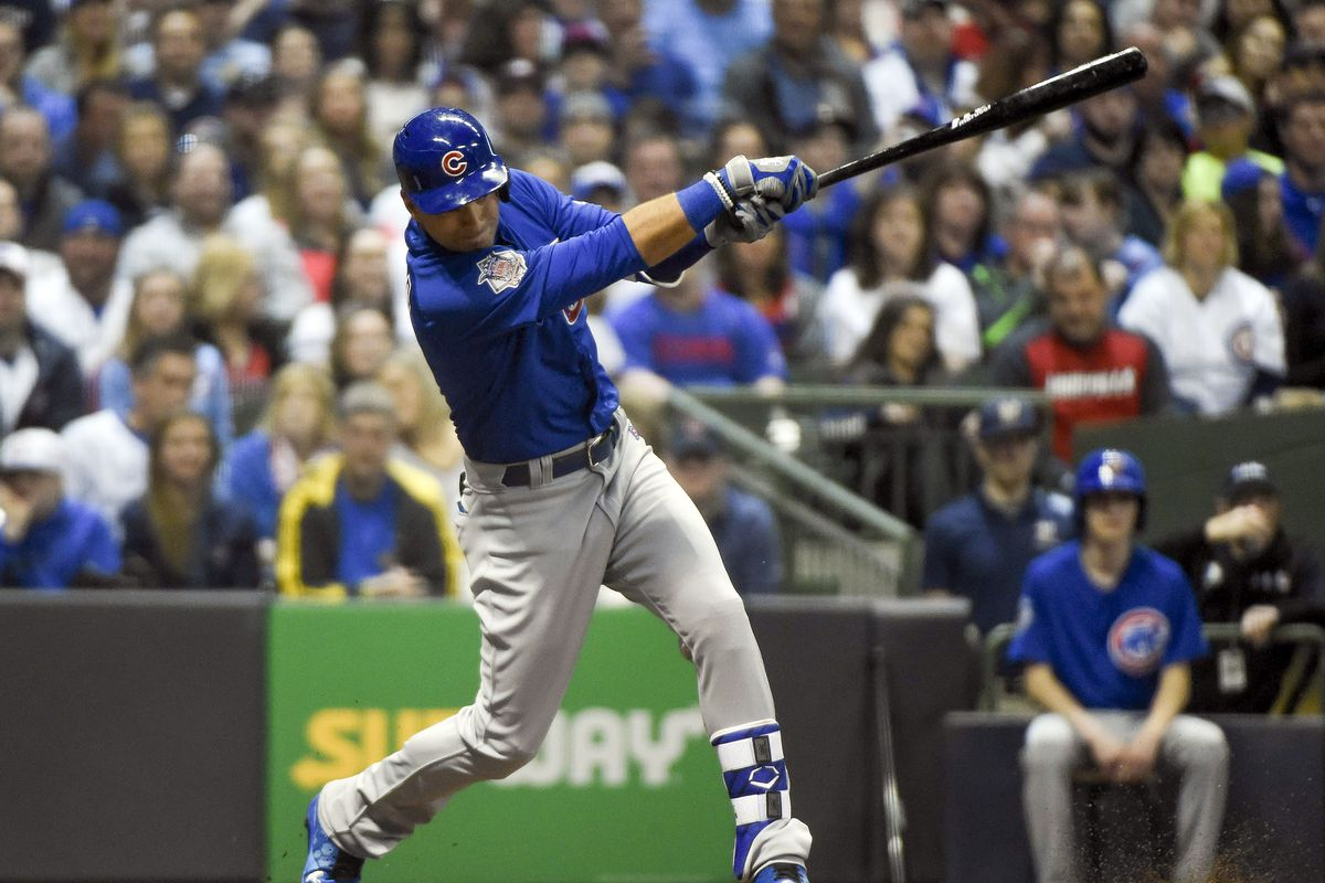 Apr 8, 2017; Milwaukee, WI, USA;  Chicago Cubs center fielder Albert Almora Jr. (5) drives in a run with an infield hit in the fifth inning during the game against the Milwaukee Brewers at Miller Park. Mandatory Credit: Benny Sieu-USA TODAY Sports
