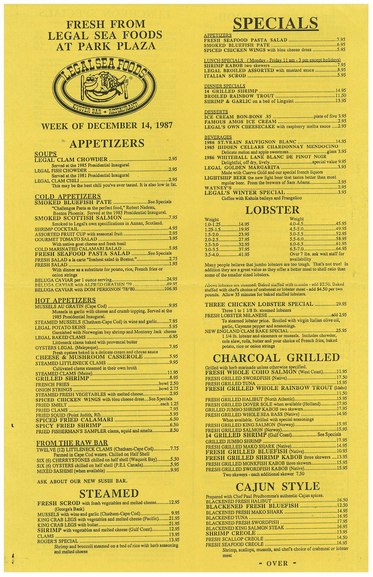 Legal Sea Foods Park Plaza 1987 menu