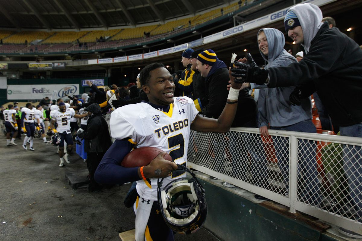 WASHINGTON, DC - DECEMBER 28: Terrance Owens #2 of the Toledo Rockets celebrates their 42-41 win over the Air Force Falcons during the Military Bowl at RFK Stadium on December 28, 2011 in Washington, DC.  (Photo by Rob Carr/Getty Images)