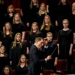A choir of BYU students performs during the Saturday night session of the 191st Semiannual General Conference of The Church of Jesus Christ of Latter-day Saints at the Conference Center in Salt Lake City on Saturday, Oct. 2, 2021.