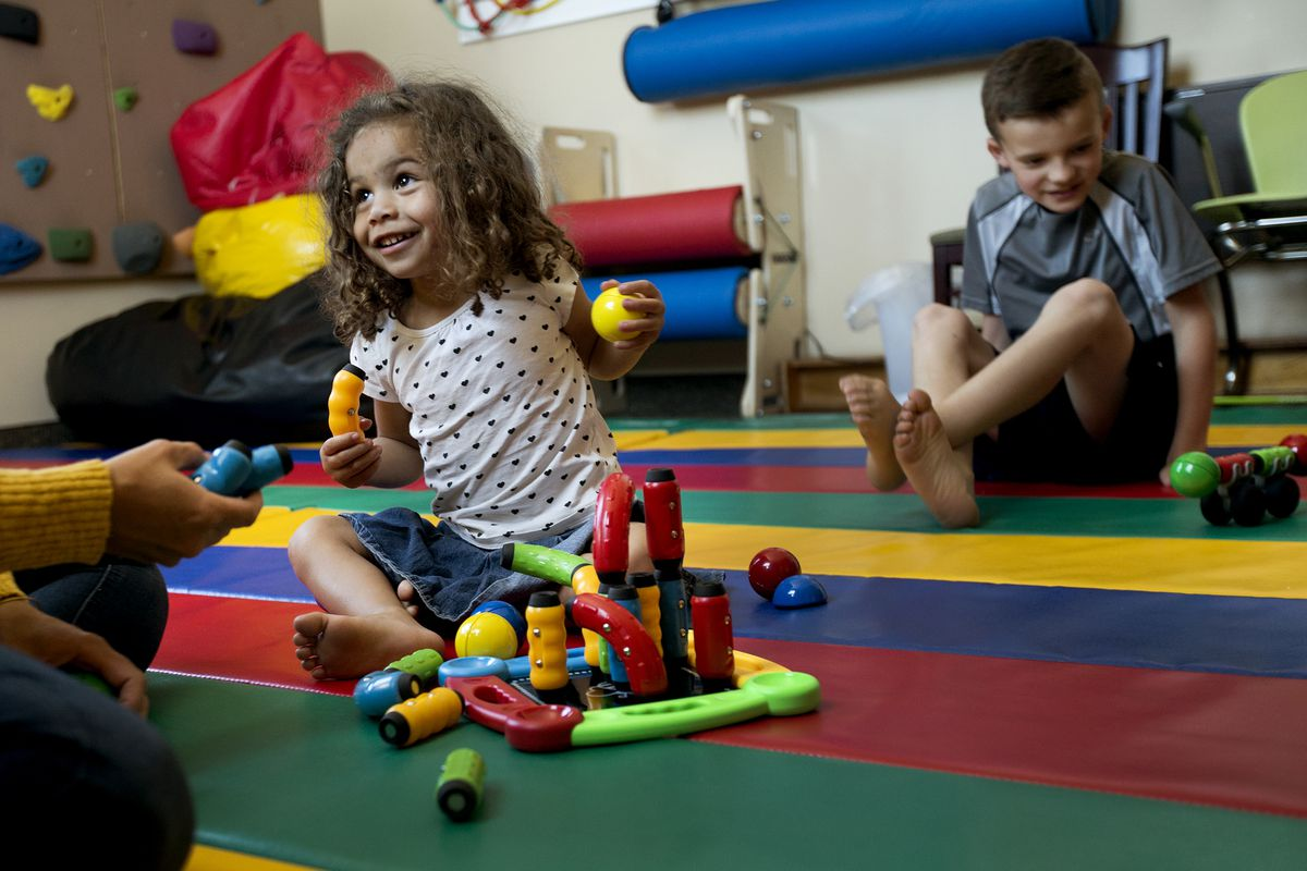 Ruby and Lincoln Ferguso play with MagStix at Matt's Place in Centerville on Tuesday, June 12, 2018.