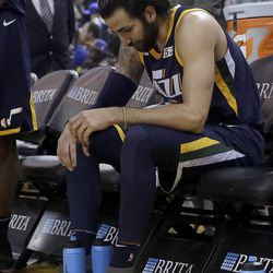 Utah Jazz guard Ricky Rubio sits on the bench during the second half of the team's NBA basketball game against the Golden State Warriors in Oakland, Calif., Wednesday, Dec. 27, 2017. The Warriors won 126-101. (AP Photo/Jeff Chiu)
