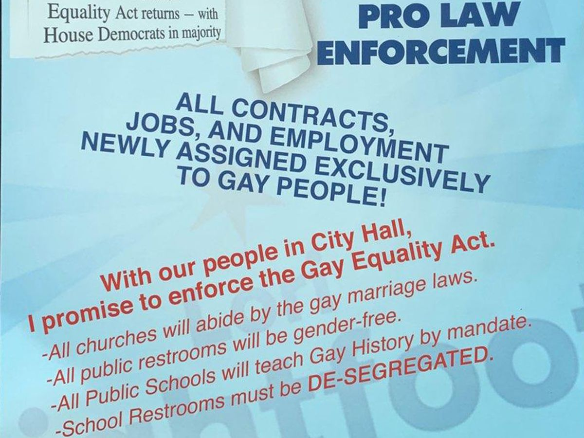 A portion of a flyer handed out Sunday outside some churches. The flyer included an image of mayoral candidate Lori Lightfoot and her wife. | Provided by Lightfoot campaign