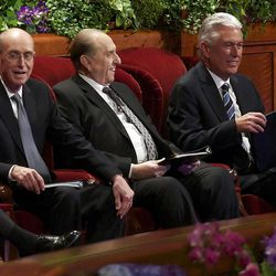 The First Presidency, President Monson, center, President Henry B. Eyring, left, and President Dieter F. Uchtdorf sit on the stand for the Saturday afternoon session of General conference Saturday, Oct. 6, 2012.