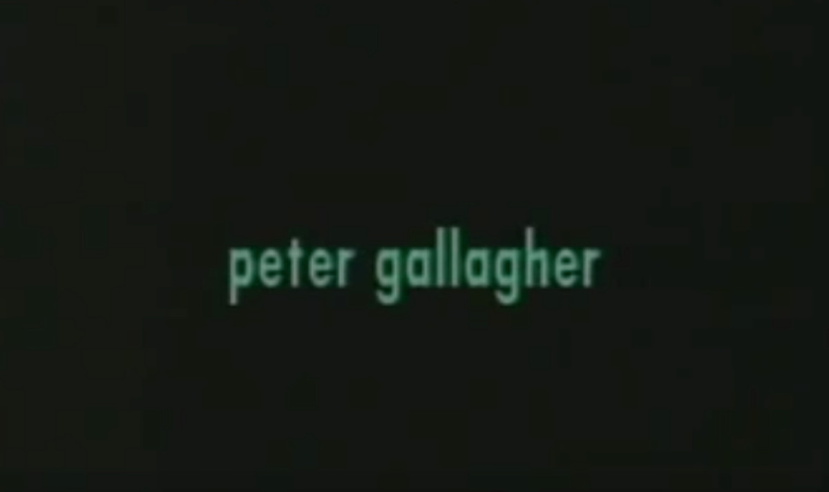 """Green text on a black background that reads: """"peter gallagher"""""""