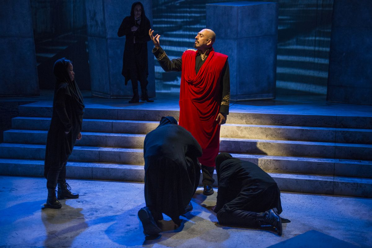 """Madrid St. Angelo plays the title character in the Writers Theatre production of """"Julius Caesar."""" 